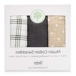 Parker Baby Swaddle Blankets - 3 Pack of 100% Cotton Muslin