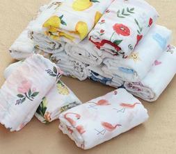 Swaddle Blankets Cotton Flamingo Rose Fruits Print Muslin Ba