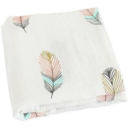 "LifeTree Muslin Swaddle Blankets,""Feather Print"" Bamboo Cott"