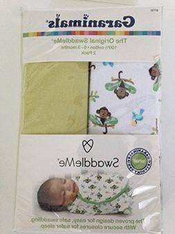 Garanimals SwaddleMe 2 Pack Infant Swaddle Wrap Small Monkey