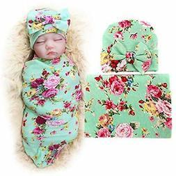 Swaddling Blankets 1 Pack BQUBO Newborn Floral Receiving Bab