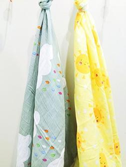 Ema Jane Swaddling Soft Cotton Muslin Baby Blanket Sets