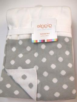 """Giggle Sweater Knit Baby Blanket gray and white 30"""" X 40"""" co"""