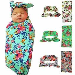 Sweet Newborn Baby Swaddle Blanket and Headband 3 Pack Value