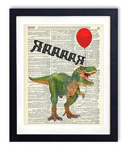 T-Rex With Balloon Upcycled Vintage Dictionary Art Print 8x1