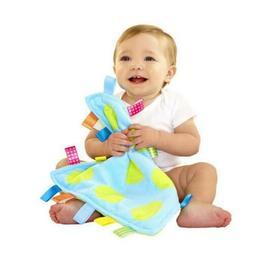 Taggies Blue Green Polka Dot Baby Blanket Satin Tag Security