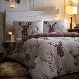 Tartan Check Stag Deer Animal Quilt Duvet Cover Bedding Set