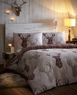 Tartan Stag Reversible Duvet Quilt Cover Bedding Set Natural