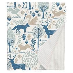 Carousel Designs Taupe and Denim Woodland Animals Crib Blank