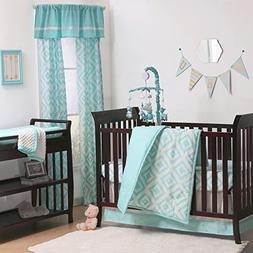 Teal Blue Diamond Tile Print 3 Piece Baby Crib Bedding Set b