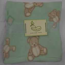 Baby Blanket with Teddy Bears, Mint, Girls / Boys Nursery Cr