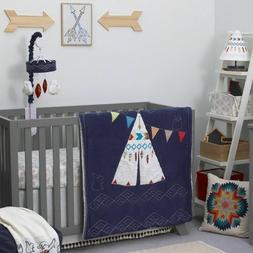NoJo Teepee Crib Bedding, 4 Piece Set, Navy, Red, Ivory