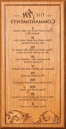 The Ten Commandments Light Cherry Wood Decorative Plaque - 4