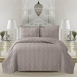 Terra Collection 3-Piece Luxury Quilt Set with Shams. Soft A