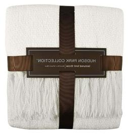Hudson Park Textured Knit Throw Blanket 50 X 70 - Ivory
