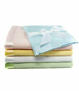 Thermal Waffle Weave Baby Blanket with Satin Nylon Trim