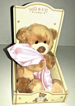 "Gund Thinking of You ""It's A Girl"" Bear Pink Blanket Baby Gi"