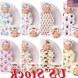 Three-Piece Newborn Baby Girl Boy Swaddle Wrap Blanket Sleep
