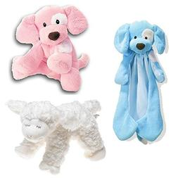 Gund Bundle of Three -Spunky Huggybuddy - Blue , Spunky Pupp