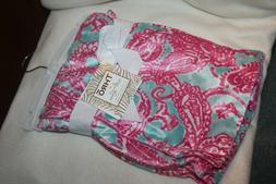 Thro by M Lorenz Baby Blanket Paisley pink turquoise STRIKIN
