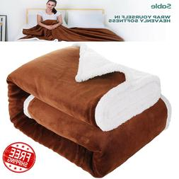 Sable Throw Blanket Fleece Sherpa Flannel Queen Size 60x80 i
