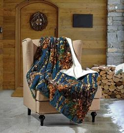 Throw Blanket NAVY BLUE CAMO WOODS Camouflage Sherpa Ultra P