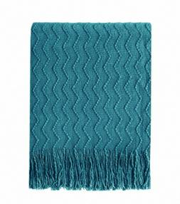 BOURINA Throw Blanket  Textured Solid Soft Sofa Decorative K