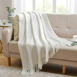 Throw Blanket Textured Solid Soft for Sofa Couch Decorative