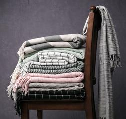 Throw Blanket Warm Knit Textured Solid for Winter Bed Sofa C