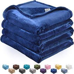 kawahome Navy Blue Throw Flannel Fleece Luxury Blanket Super