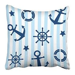 Throw Pillow Covers Print Blue Beach with Anchor Steering Wh