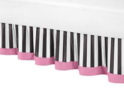 Toddler Bed Skirt for Pink, Black and White Stripe Kids Chil