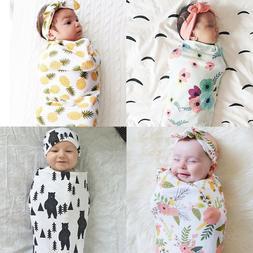 Toddler Infant Baby Boy Girl Floral Swaddle Muslin Blanket W