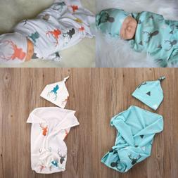 Toddler Newborn Baby Boy Girl Deer Soft Stretch Wrap Swaddle