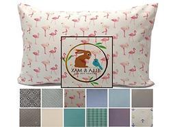 Ella & Max Toddler Pillowcase. Pink Flamingo. Soft & Cuddly.