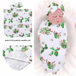 Towel Cactus Printed Baby Swaddle Blanket Sets Sleeping Swad