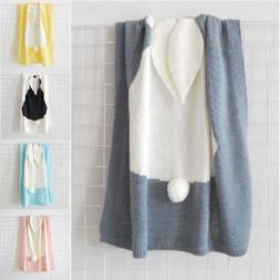 Towel Cover Napping Blanket Rabbit Soft Ear Bedding For Cute