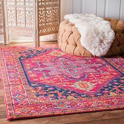 Traditional Vintage Katrina Blooming Rosette Pink Area Rugs,