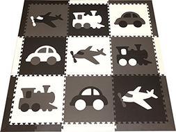 SoftTiles Kids Foam Playmats - Transportation Theme - Nontox