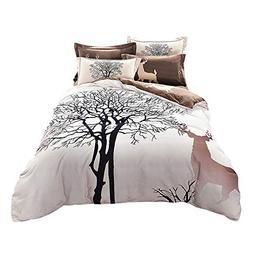 Svetanya - Tree Deer Printed Pattern - Quilt Cover Bedding S