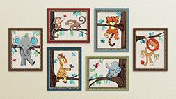 Treetop Jungle Animal Buddies Nursery Wall Art Prints  Set o