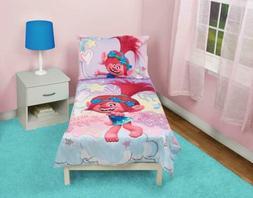 Trolls Hug Time 4-Piece Toddler Bedding Set, Pink, Toddler