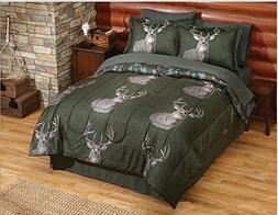 8 Piece Trophy Buck Deer Themed Comforter Queen Set, Outdoor