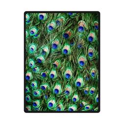 Tropical Natural Peacock Tail Texture Custom Fleece Blanket