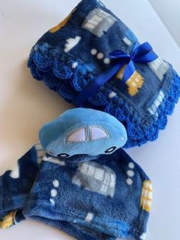 Trucks, Cars & Buses Crochet Baby Blanket Gift Set
