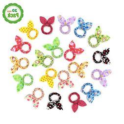 TS 20 PCS Cute Girls Rabbit Ear Hair Tie Bands Ropes Ponytai