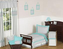 Sweet Jojo Designs 5-Piece Turquoise and Gray Chevron Zig Za