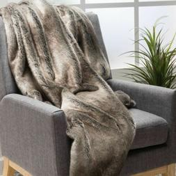 Tuscan Modern Glam Striped Faux Fur Throw Blanket