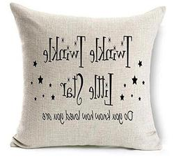 Twinkle Twinkle Little Star Cotton Linen Throw pillow cover