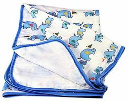 Two Layers Breathable Muslin Baby Blanket. Soft Cotton Crib